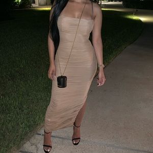 House of CB nude sheer dress
